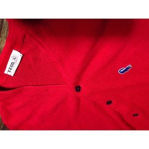 🐊IZOD x LACOSTE RED BUTTON UP CARDIGAN🐊